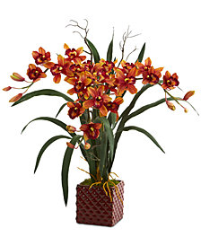 """Nearly Natural 29"""" Cymbidium Orchid Artificial Arrangement in Red Vase"""