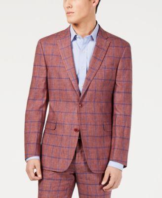 Men's Modern-Fit Brick/Blue Windowpane Suit Jacket