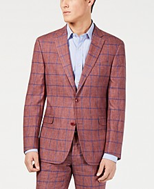 Men's Modern-Fit Brick/Blue Windowpane Suit Jacket