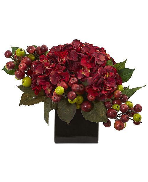Nearly Natural Hydrangea Artificial Arrangement in Black Vase