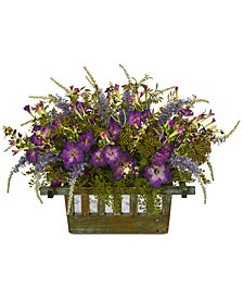 Nearly Natural Morning Glory Artificial Arrangement in Decorative Planter