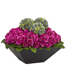 Nearly Natural Roses & Ball Flowers Artificial Arrangement in Black Vase