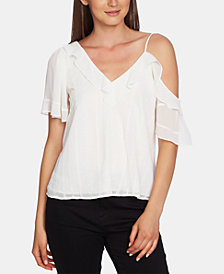 1.STATE Ruffled One-Shoulder Embroidered Top