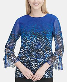 Calvin Klein Printed Bell-Sleeve Top