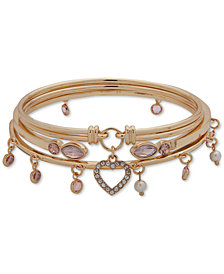 Anne Klein Gold-Tone 3-Pc. Set Crystal Heart and Stone Dangle Bangle Bracelets