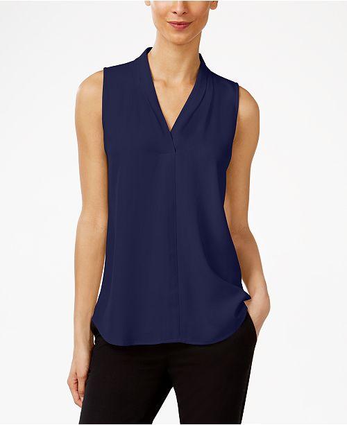 c81412194aadbd Calvin Klein Pleated V-Neck Shell   Reviews - Tops - Women - Macy s