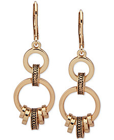 Anne Klein Gold-Tone Textured Ring Double Drop Earrings