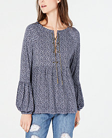 MICHAEL Michael Kors Chain-Neck Peplum Top