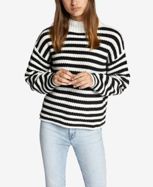 SANCTUARY Idris Striped Mock-Neck Sweater in Winter White