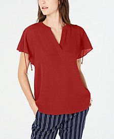 MICHAEL Michael Kors Lace-Up-Shoulder Top, In Regular & Petite Sizes