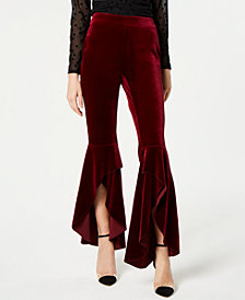I.N.C. Velvet Ruffled Slit-Leg Pants, Created for Macy's