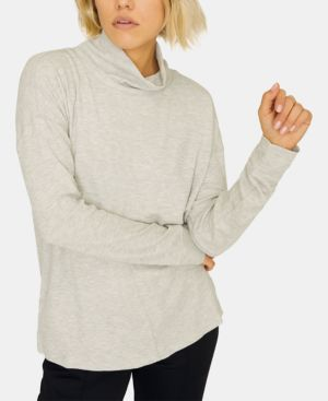 Highroad Mock-Neck Waffle-Knit Top in Healther Sterling