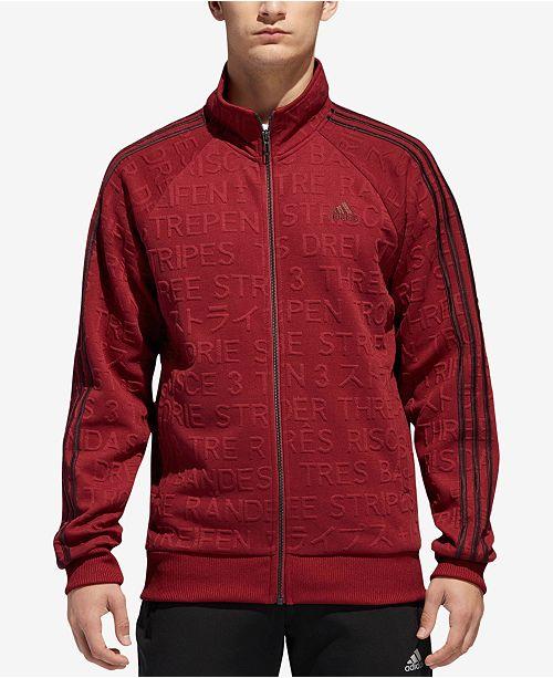 d25cb02dd747 adidas Men s Typography Tonal-Print Track Jacket   Reviews - Coats ...