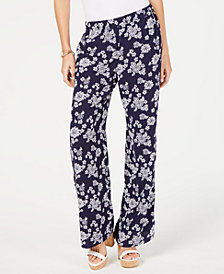 MICHAEL Michael Kors Floral-Print Pull-On Pants