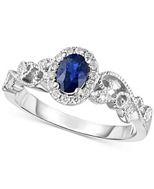Sapphire (1/2 ct. t.w.) & Diamond (1/8 ct. t.w.) Ring in 14k White Gold (Also Available in Emerald and Ruby)