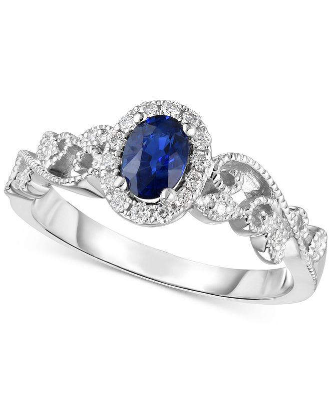 Macy's Sapphire (1/2 ct. t.w.) & Diamond (1/8 ct. t.w.) Ring in 14k White Gold (Also Available in Emerald and Ruby)