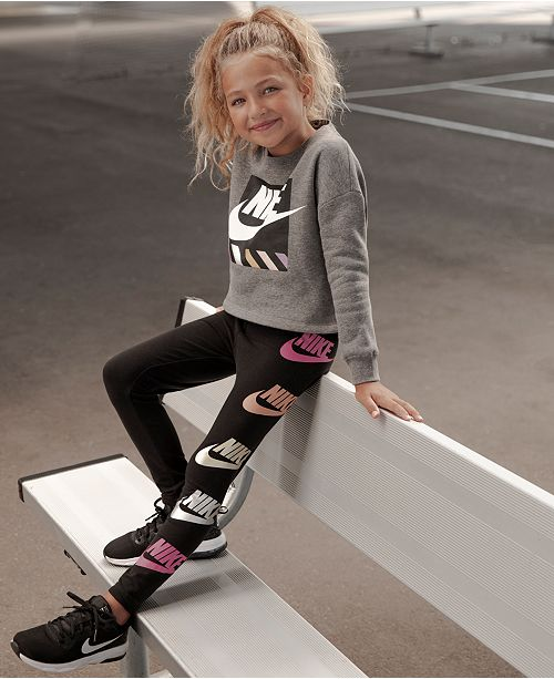 92ead9144 Nike Little Girls Futura-Print Shine Leggings & Reviews - Leggings ...