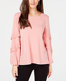Alfani Pleated Tiered-Sleeve Top, Created for Macy's