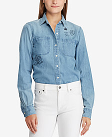 Lauren Ralph Lauren Printed Denim Cotton Shirt