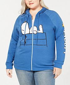 Love Tribe Trendy Plus Size Snoopy Zip-Up Hoodie
