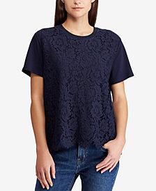 Lauren Ralph Lauren Petite Lace-Front Shirt