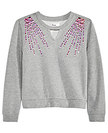 Epic Threads Big Girls Sequin-Trim Keyhole Sweatshirt, Created for Macy's