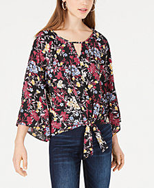 BCX Juniors' Printed Cutout Tie-Front Top