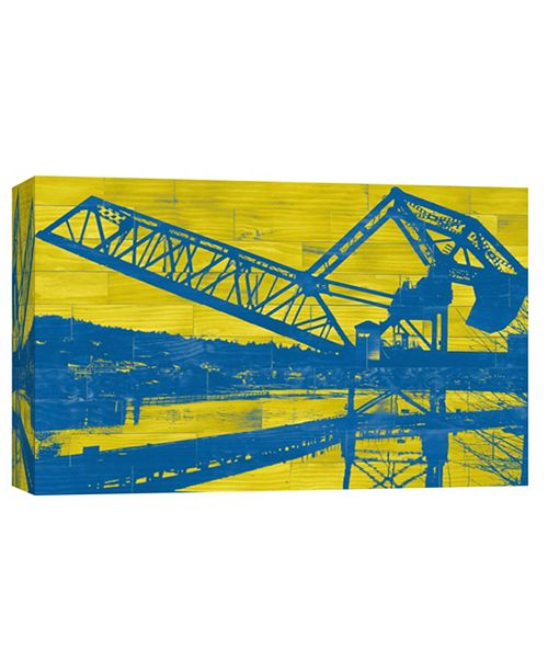 PTM Images Train Trestle - Blue And Yellow Decorative Canvas Wall Art