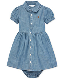 Polo Ralph Lauren Baby Girls Ruffled Cotton Chambray Dress