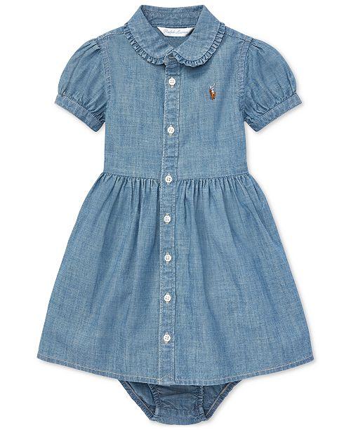 14f19596e773 Polo Ralph Lauren Baby Girls Ruffled Cotton Chambray Dress   Reviews ...