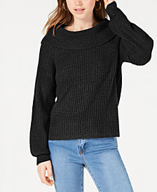 Hooked Up by IOT Juniors' Marilyn Shawl-Collar Sweater