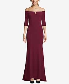 Betsy & Adam Petite Off-The-Shoulder Gown