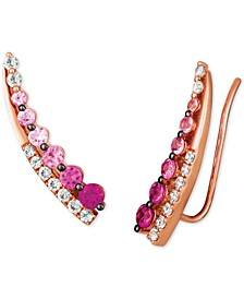 Strawberry Layer Cake Multi-Gemstone Ear Climbers in 14k Rose Gold