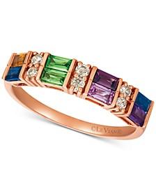 Baguette Multi-Gemstone (3/4 ct. t.w.) & Nude™ Diamond (1/6 ct. t.w.) Ring in 14k Rose Gold
