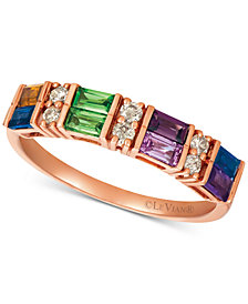 Le Vian® Baguette Multi-Gemstone (3/4 ct. t.w.) & Nude™ Diamond (1/6 ct. t.w.) Ring in 14k Rose Gold
