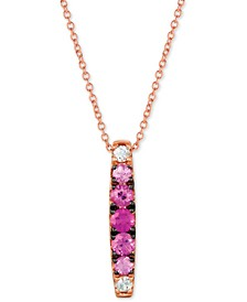 "Strawberry Layer Cake™ Pink Sapphire (1/2 ct. t.w.) & White Sapphire (1/10 ct. t.w.) 18"" Pendant Necklace in 14k Rose Gold"