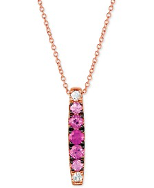 "Le Vian Strawberry Layer Cake™ Pink Sapphire (1/2 ct. t.w.) & White Sapphire (1/10 ct. t.w.) 18"" Pendant Necklace in 14k Rose Gold"