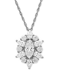 "Cubic Zirconia Cluster 18"" Pendant Necklace in Sterling Silver"