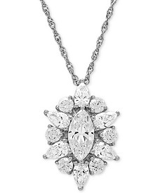 """Cubic Zirconia Cluster 18"""" Pendant Necklace in Sterling Silver"""