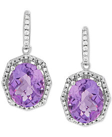 Amethyst (4-1/2 ct. t.w.) & Diamond (1/4 ct. t.w.) Drop Earrings in Sterling Silver