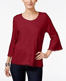 Style & Co Petite Crochet-Trim Lantern-Sleeve Top, Created for Macy's