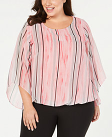 Alfani Plus Size Angel-Sleeve Blouson Top, Created for Macy's