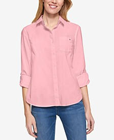 Cotton Roll-Tab Shirt