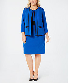 Kasper Plus Size Piped-Trim Open-Front Blazer & Sheath Dress