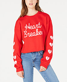Love Tribe Juniors' Heartbreaker Cropped Graphic Sweatshirt