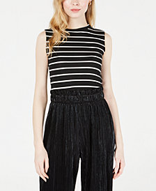 Maison Jules Striped Ribbed-Knit Tank Top, Created for Macy's