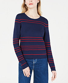 Maison Jules Striped Textured Sweater, Created for Macy's