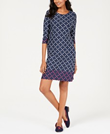 Charter Club Petite Mixed-Print Shift Dress, Created for Macy's
