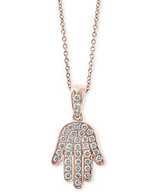 "EFFY® Diamond Hamsa Hand 18"" Pendant Necklace (1/4 ct. t.w.) in 14k Rose Gold"