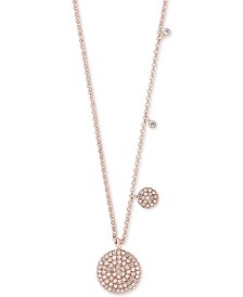 "EFFY® Diamond Pavé Disc 18"" Pendant Necklace (1/4 ct. t.w.) in 14k Rose Gold"